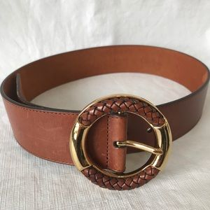 Cole Haan Leather Belt Gold Round Buckle